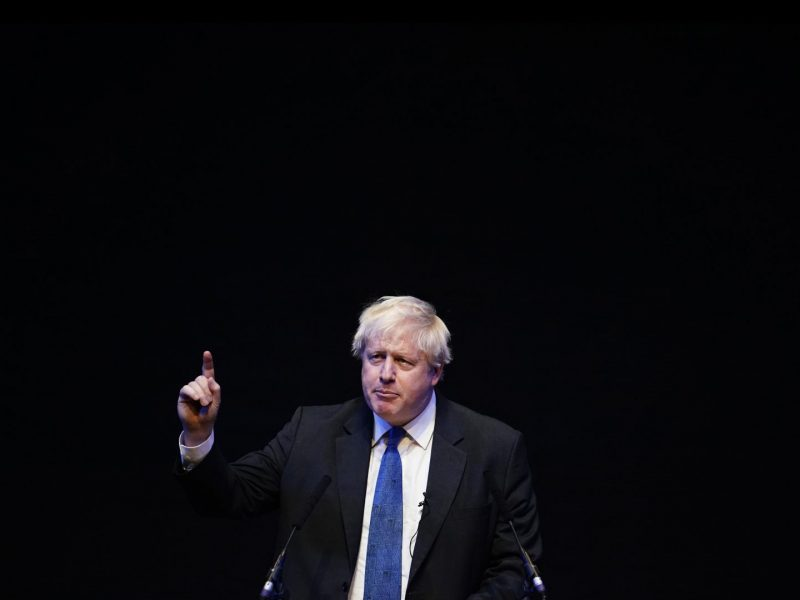 BIRMINGHAM, ENGLAND - OCTOBER 02:  Boris Johnson speaks at a Conservative home fringe meeting on day three of the Conservative Party Conference on October 2, 2018 in Birmingham, England. The former Foreign Secretary makes his Brexit speech to the Conservative Home fringe meeting audience today. This is seen as a direct challenge to the Prime Minister's much maligned Chequers Deal. (Photo by Christopher Furlong/Getty Images)
